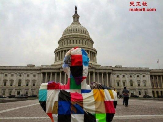 全球创客协力分布式3D打印富兰克林塑像